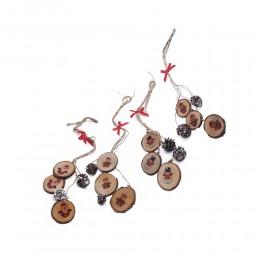 Eko zawieszka świąteczna DREWNIANE KRĄŻKI Z SZYSZKAMI dł. 50cm