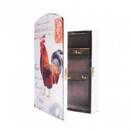 Biała skrzynka szafka na klucze z KOGUTEM w stylu rustykalnym