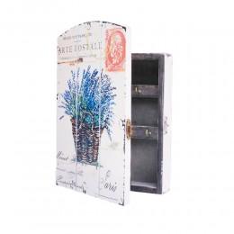 Biała skrzynka szafka na klucze z LAWENDĄ W KOSZYKU
