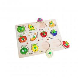 Puzzle drewniana układanka z uchwytami dla dzieci OWOCE