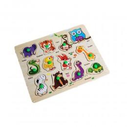 Puzzle drewniana układanka z uchwytami dla dzieci SAFARI