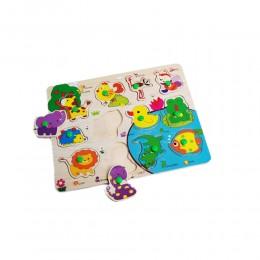 Puzzle drewniana układanka z uchwytami dla dzieci ZWIERZĄTKA