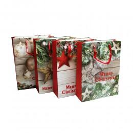 Duża świąteczna papierowa torebka torba na prezenty 40x30x11cm