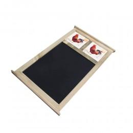 Drewniana tablica do pisania kredą z 2 kafelkami KOGUT