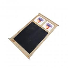 Drewniana tablica do pisania kredą z 2 kafelkami LAWENDA W DZBANIE