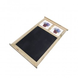 Drewniana tablica do pisania kredą z 2 kafelkami LAWENDA W KOSZYKU