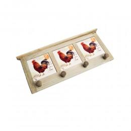 Drewniany wieszak na ręczniki do kuchni z kafelkami KOGUT 4 haczyki