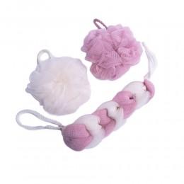 Siateczkowa różowa gąbka myjka kąpielowa do mycia masażu 3 szt.