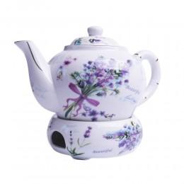Dzbanek czajnik z podgrzewaczem do parzenia herbaty LAWENDA
