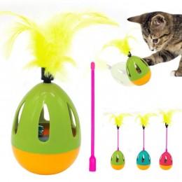 JAJKO wańka wstańka zabawka dla kota z dzwoneczkiem i piórkami