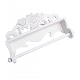Biały drewniany wieszak na ręczniki papierowe RZEŹBIONE RÓŻE