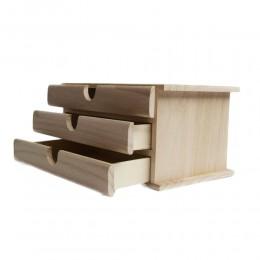 PUDEŁKO drewniane ORGANIZER przybornik z szufladkami DECOUPAGE