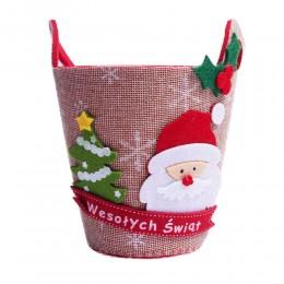 Bożonarodzeniowa filcowa osłonka donica doniczka z uchami