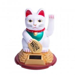 Biały MANEKI NEKO japoński kot szczęścia i bogactwa solarny