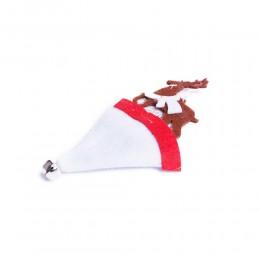 Zawieszka dekoracja świąteczna RENIFER W BIAŁEJ CZAPCE z dzwoneczkiem