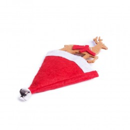 Zawieszka dekoracja świąteczna RENIFER W CZERWONEJ CZAPCE z dzwoneczkiem