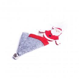 Zawieszka dekoracja świąteczna MIKOŁAJ W SZAREJ CZAPCE z dzwoneczkiem