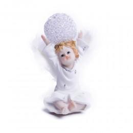 Figurka świecący aniołek anioł stróż z kulą