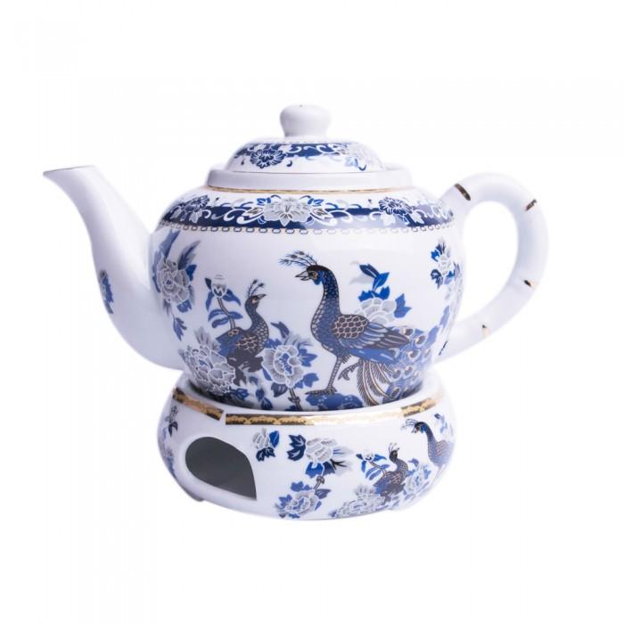 Dzbanek czajnik z podgrzewaczem do parzenia herbaty PAW NIEBIESKI