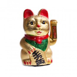 Złoty MANEKI NEKO japoński kot szczęścia bogactwa 20cm