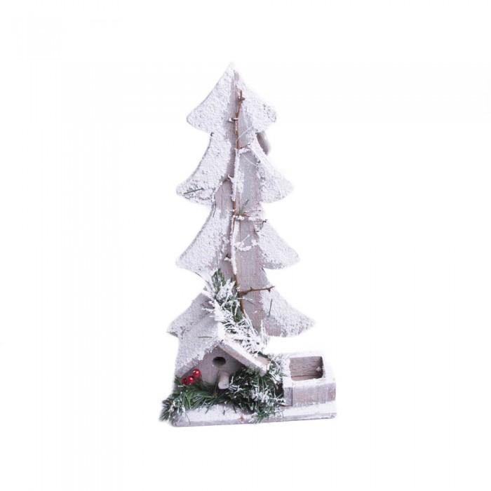 Drewniana ośnieżona choinka - ozdoba świąteczna na Boże Narodzenie