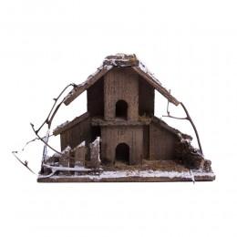 Eko Świąteczny domek drewniany 35x12x24cm dekoracja świąteczna