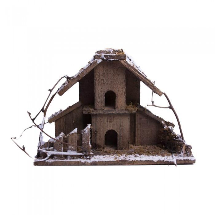 Świąteczny zimowy podświetlany domek drewniany cm