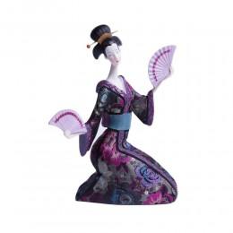 Wyjątkowa figurka JAPOŃSKA GEJSZA Z WACHLARZAMI / figurka Gejszy