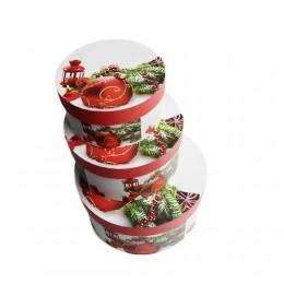 Komplet 3 szt. czerwonych pudełek prezentowych świątecznych