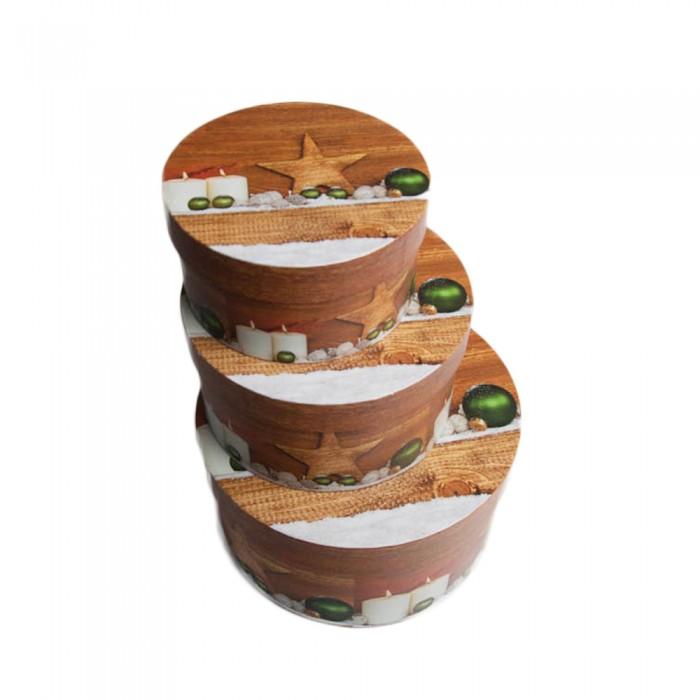 Komplet 3 szt. brązowych okrągłych pudełek prezentowych świątecznych