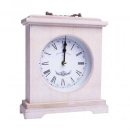 Ozdobny stojący drewniany biały zegar kominkowy na prezent