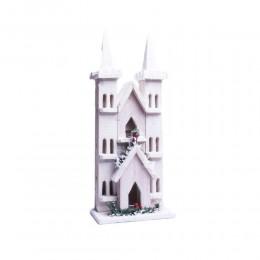 Dekoracja świąteczna domek podświetlany Led 42 cm bielony