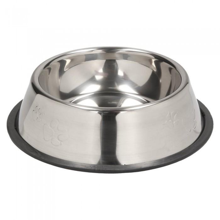Średnia miska metalowa dla psa na gumie