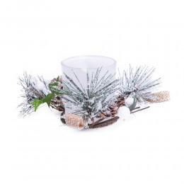 Dekoracja na Boże Narodzenie szklany lampion świąteczny