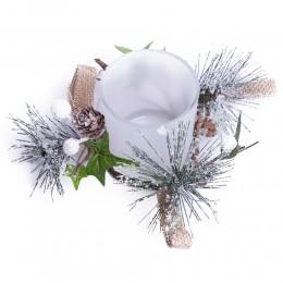Dekoracja świąteczna szklany świecznik lampion tealight na Boże Narodzenie