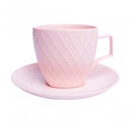 Zestaw kawowy 6 osobowy filiżanki do kawy lub herbaty RÓŻOWA KRATA