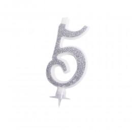 Świeczka cyferka srebrna 5 | Dekoracje urodzinowe dla dzieci