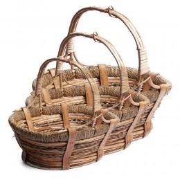 Kosze wiklinowe | Owalny koszyk wiklinowy BEŻ | Koszyk na zakupy