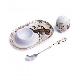 Podstawka pod jajko z solniczką i łyżeczką PAW BRĄZOWY