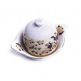 Pojemnik na cytrynę | Cytrynówka porcelana japońska PAW BRĄZOWY