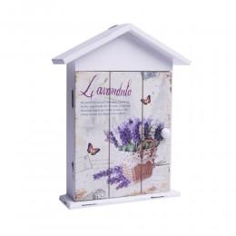 Drewniana szafka skrzynka domek na klucze biała LAWENDA