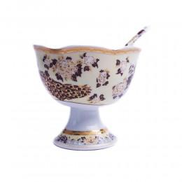 Cukiernica z łyżeczką na nóżce PAW BRĄZOWY - Porcelana japońska