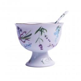 Cukiernica z łyżeczką na nóżce LAWENDA - Porcelana japońska