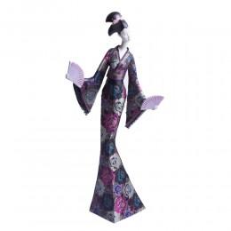 Duża figurka JAPOŃSKA GEJSZA GEISHA z wachlarzami 55 cm