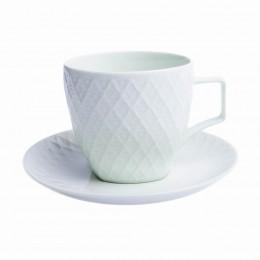 Zestaw kawowy 6 osobowy - Filiżanki do kawy herbaty SELEDYNOWA KRATA