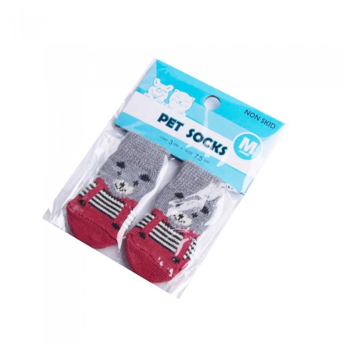 Bawełniane skarpetki antypoślizgowe dla psa lub kota rozm. M