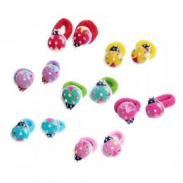 Gumki frotki do włosów dla dzieci kolorowe BIEDRONKI zestaw 2 sztuki