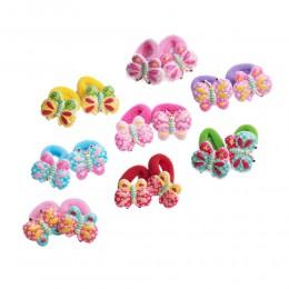 Frotki gumki ozdoby do włosów dla dzieci MOTYLKI zestaw 2 sztuki