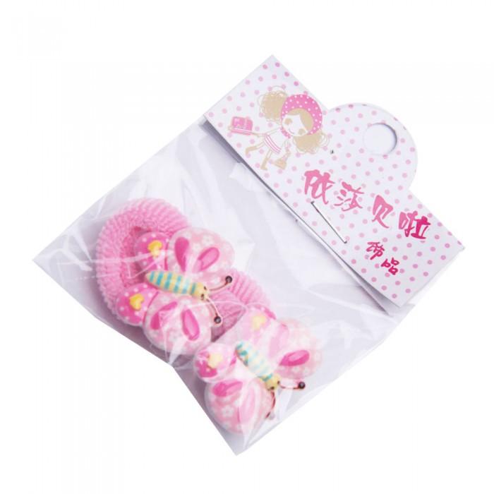 Frotki gumki ozdoby do włosów dla dzieci jasnoróżowe MOTYLKI