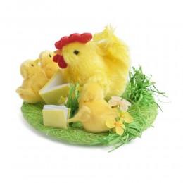 Ozdoba wielkanocna stroik kura kurczaczki w gniazdku